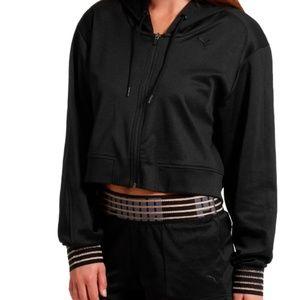 Puma Black Fusion Full Zip Cropped Hoodie
